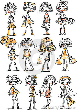 Cartoon fashionable girls,vector