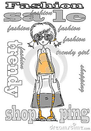 Cartoon fashionable girls,vector