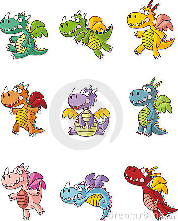 Cartoon fat fire dragon icon set
