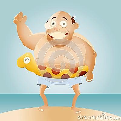 Cartoon Fat Man on Beach