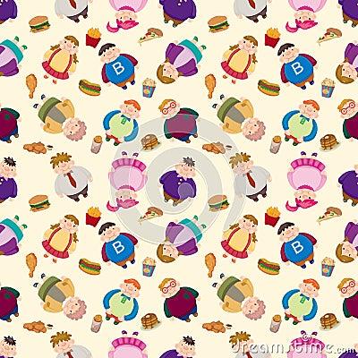 Cartoon Fat people seamless pattern
