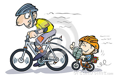 Cartoon Father and Son Bicyclists.