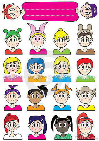 Cartoon Female Colorful Set_eps