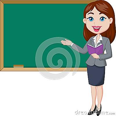 Free Cartoon Female Teacher Standing Next To A Blackboard Stock Images - 45743034