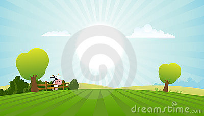 Cartoon Field With Dairy Cow