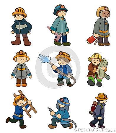 Cartoon Fireman Cartoon-fireman-icon-set- ...