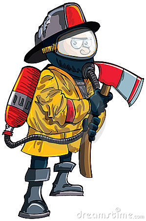 Cartoon fireman in a mask with an axe