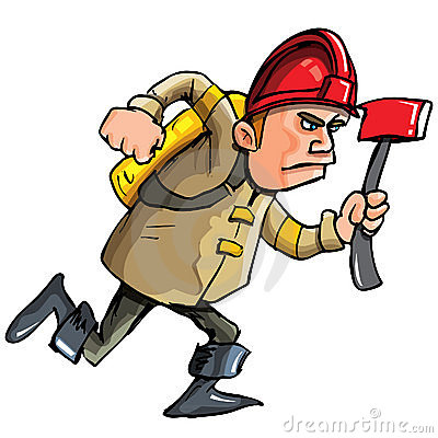 Cartoon fireman running with an axe