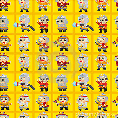 Free Cartoon Fireman Seamless Pattern Stock Image - 19684381