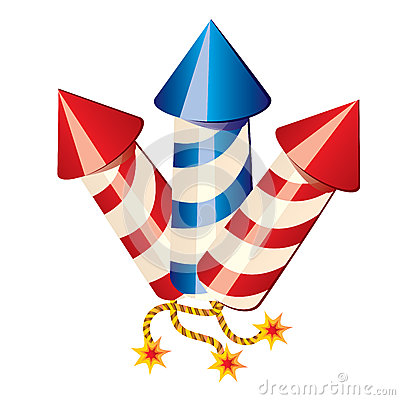 Cartoon fireworks rockets