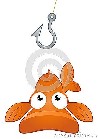 Cartoon fish and hook