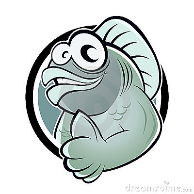 Cartoon fish with thumb up