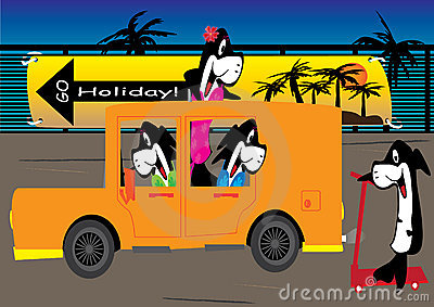 Cartoon Fishes Go Holiday_eps