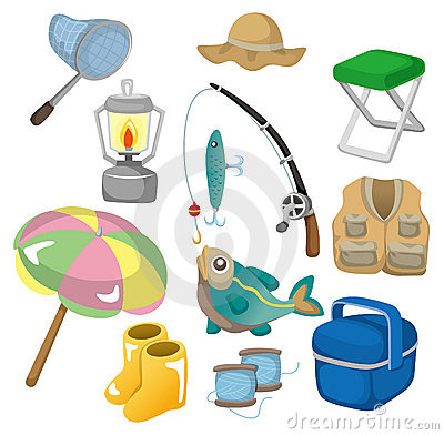 Free Cartoon Fishing Icons Stock Photography - 19281692