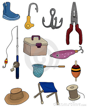 Free Cartoon Fishing Icons Set Stock Photos - 19635453