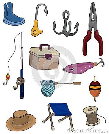 Cartoon Fishing icons set