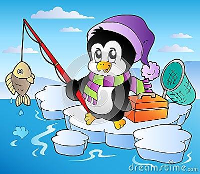 Cartoon fishing penguin