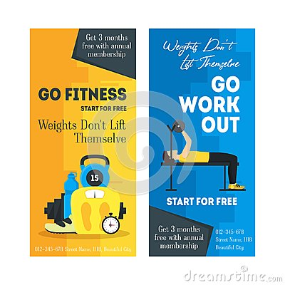 Free Cartoon Fitness Sport Banner Card Vertical Set. Vector Stock Photos - 100110903