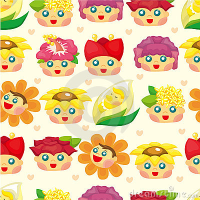 Cartoon flower fairy seamless pattern