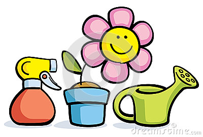 Cartoon Flower In Pot With Watering Can And Sprayer Royalty Free Stock ...