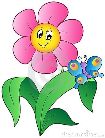 Free Cartoon Flower With Butterfly Stock Photo - 19396450