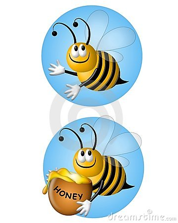 Cartoon Flying Bumblebees on Blue