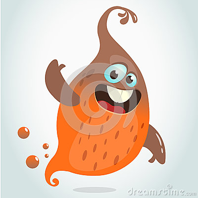 Free Cartoon Flying Monster. Vector Halloween Illustration Of Smiling Orange Ghost Waving. Royalty Free Stock Photography - 77123307