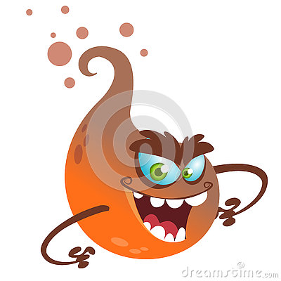 Free Cartoon Flying Monster. Vector Halloween Illustration Of Smiling Orange Ghost With Paws Attacks. Stock Photos - 77466673
