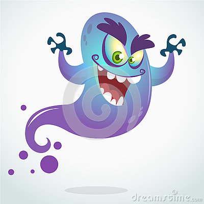 Free Cartoon Flying Monster. Vector Halloween Illustration Of Smiling Purple Ghost With Hands Up Stock Photos - 75232463