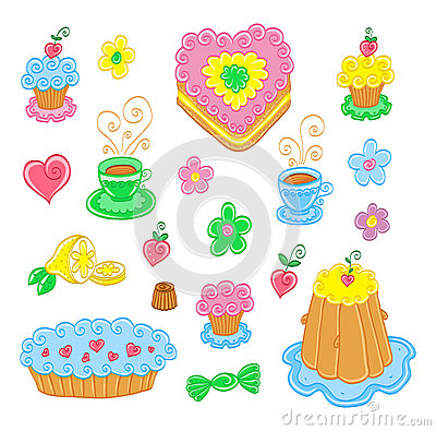 Cartoon food set