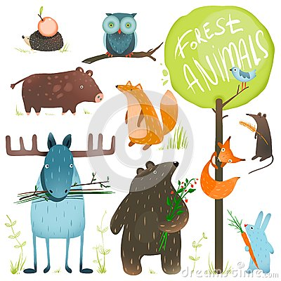 Free Cartoon Forest Animals Set Royalty Free Stock Images - 45103319