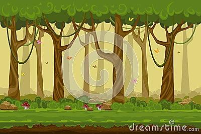 Cartoon forest landscape, endless vector nature Vector Illustration