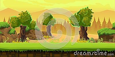 Cartoon forest landscape, endless vector nature background for games. tree, stones, art illustration Vector Illustration
