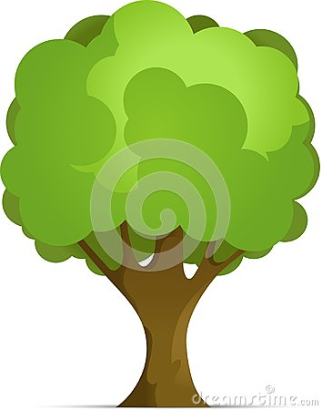 Cartoon Forest or Park Tree With Gradient Isolated on White Background. Vector Illustration with Shadow. Vector Illustration