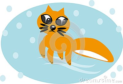Cartoon fox on isolated background