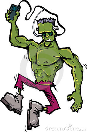 Cartoon Frankenstein monster with MP3 player