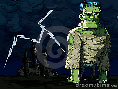 Cartoon Frankenstein monster in a night scene
