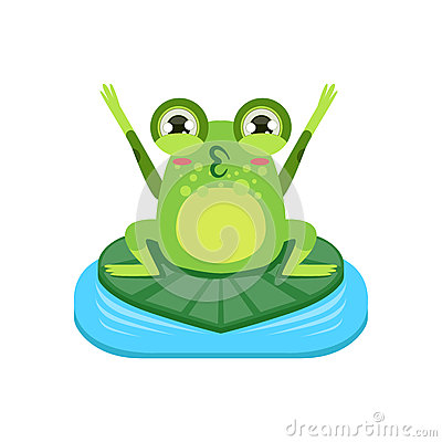 Free Cartoon Frog Character Cheering Stock Photo - 71670120