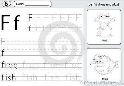 Cartoon Frog And Fish. Alphabet Tracing Worksheet: Writing A-Z A ...