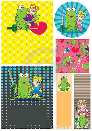 Cartoon Frog Girl Card Set_eps