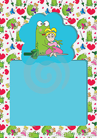 Cartoon Frog Girl Seamless Pattern Card_eps