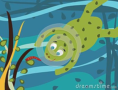 Cartoon frog underwater