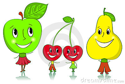 Cartoon fruit characters.