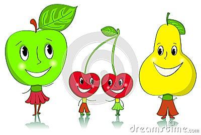 Cartoon fruit characters.