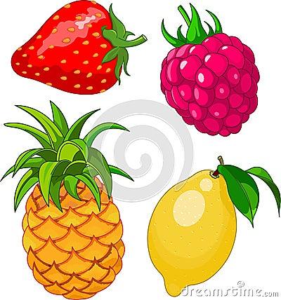 Free Cartoon Fruit Set Stock Photos - 25384193