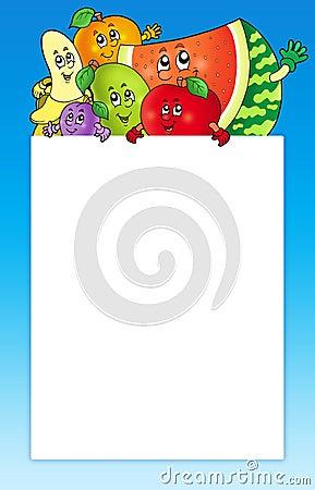 Cartoon fruits holding blank board