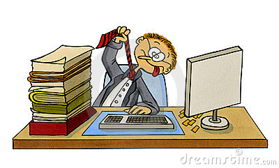 Cartoon of a frustrated office worker