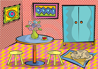 Cartoon funky room with cat