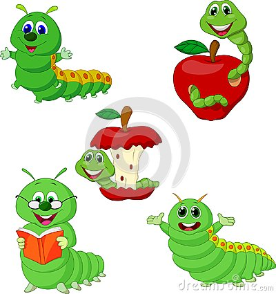 Free Cartoon Funny Caterpillar Collection Set Royalty Free Stock Images - 123696709