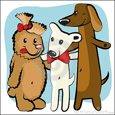 Cartoon funny dog with friends